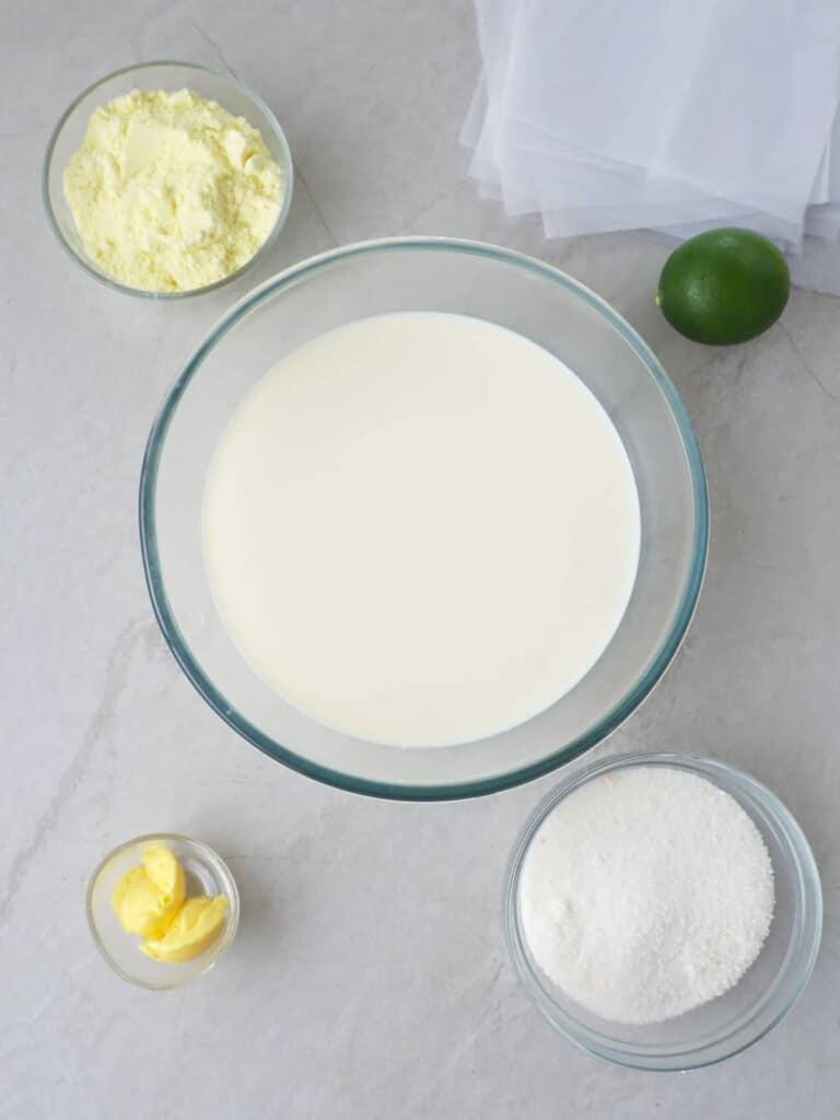 powdered milk, fresh milk, lime, butter, sugar