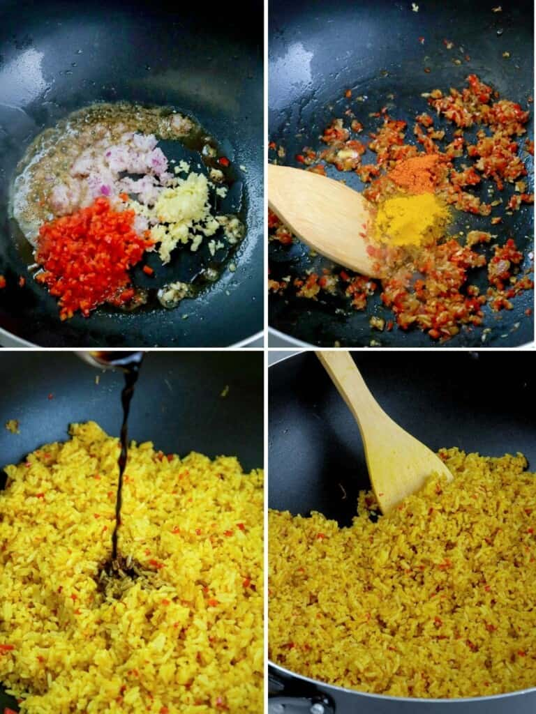 cooking java rice in a wide pan