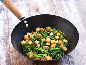 Kangkong and Tofu with Oyster Sauce