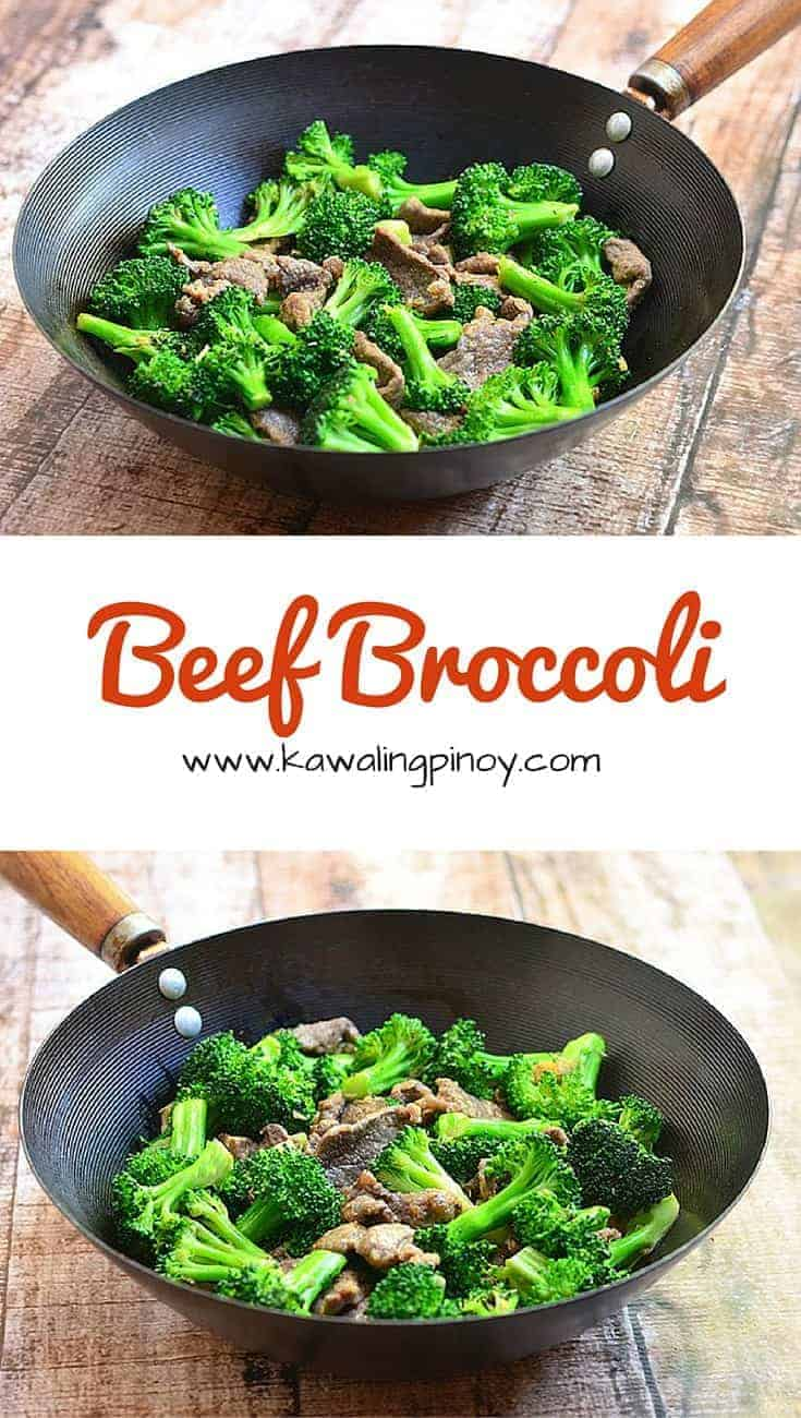 Beef Broccoli is a quick and easy dish where beef slices are velveted for moist and tender texture and then quickly stir-fried with broccoli in oyster sauce
