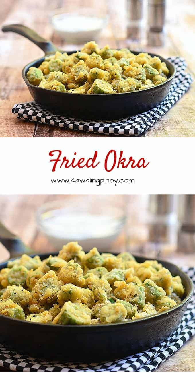 Fried Okra are okra pieces dredged in flour and cornstarch mixture and then deep fried until crisp and golden