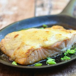 Baked Salmon with Tamarind Mayo Topping on a cast iron skillet
