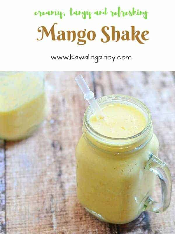 Mango shake is a refreshing summer drink made with blended Philippine mangoes, evaporated milk and simple syrup