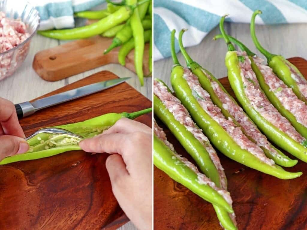 stuffing finger chili peppers with ground pork