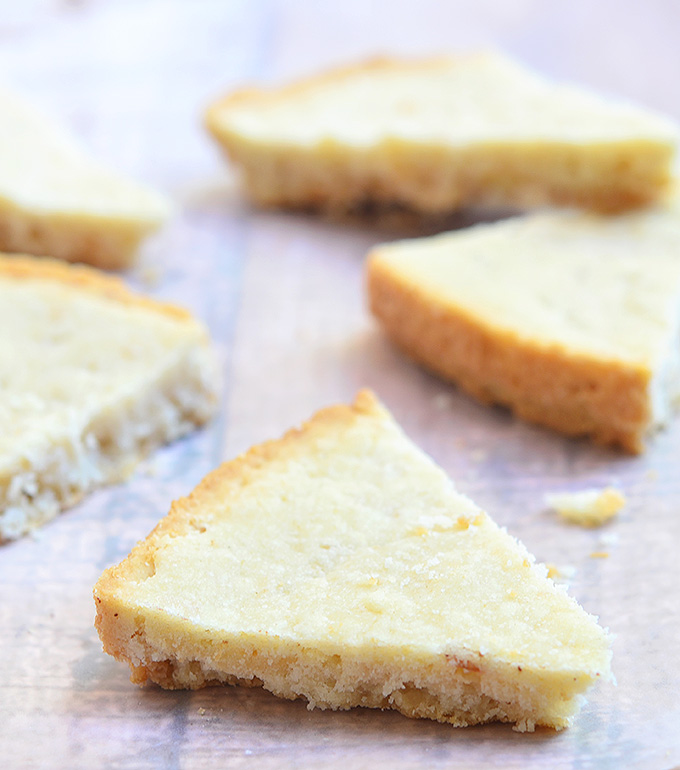 These delightfully small shortbread cookies are buttery and golden brown.