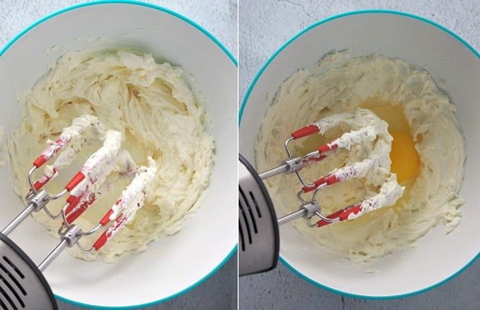 beating cream cheese in a bowl with eggs