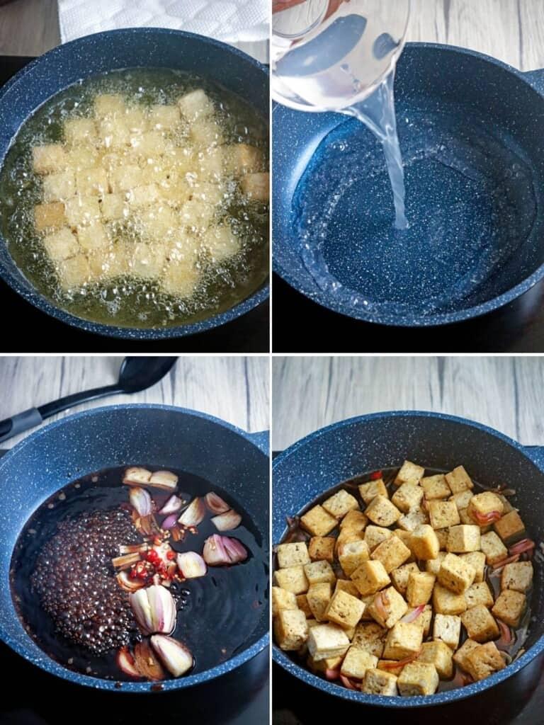making tokwa with sauce