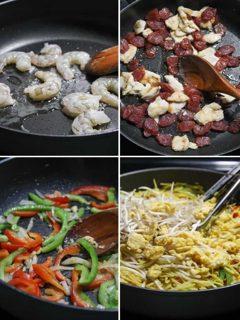 making Singapore Noodles in a pan with shrimp, bell peppers, and Chinese sausage