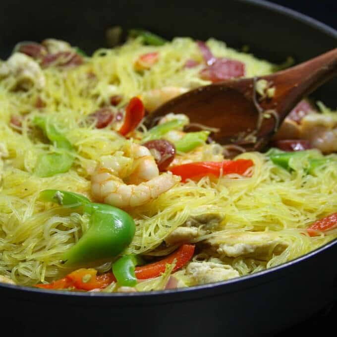 Singapore Noodles in a pan