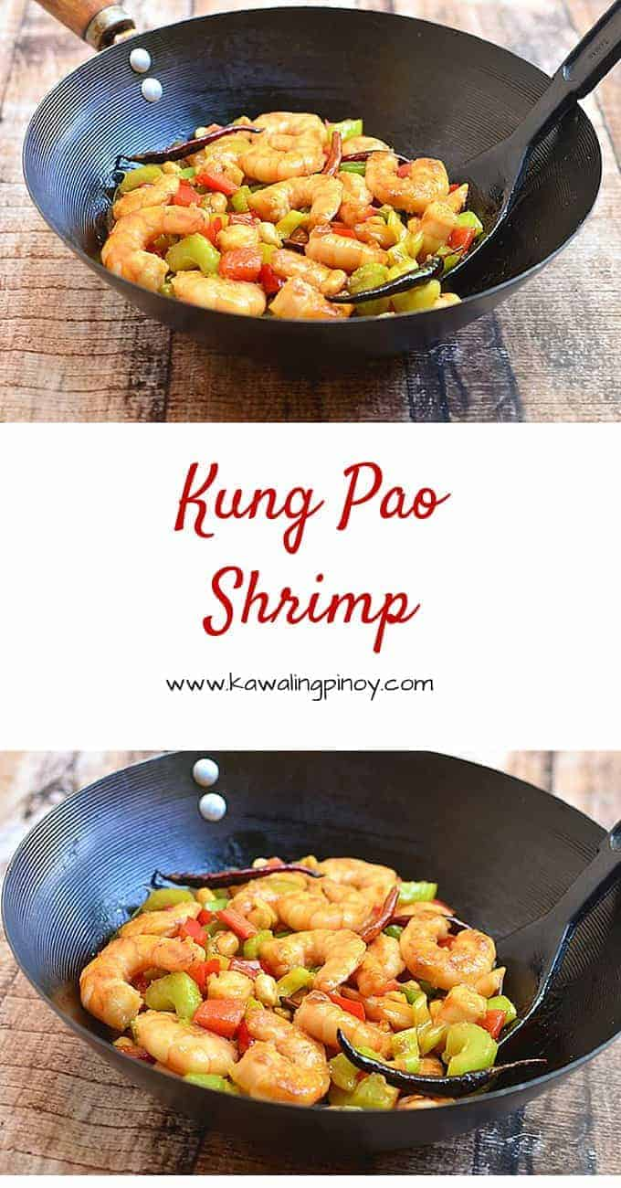 Kung pao shrimp is a quick stir fry dish made with shrimps, peanuts, celery, bell peppers, chili peppers in a spicy sauce
