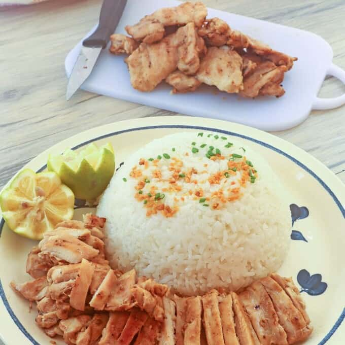 grilled chicken on a plate with steamed rice on the side