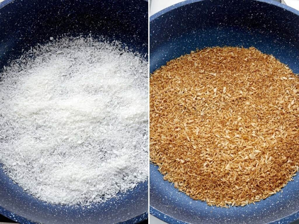 toasting coconut in a pan