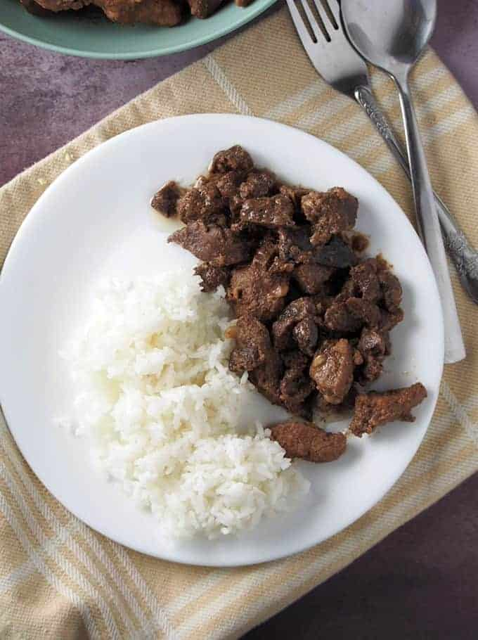 kilayin on a white plate with steamed rice