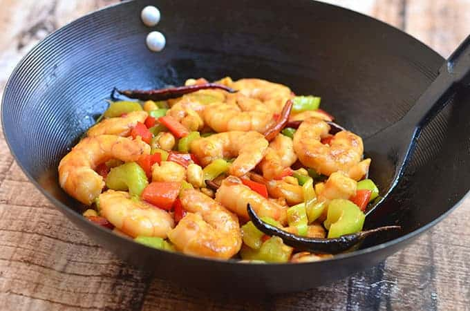 This Kung Pao Shrimp has lots of crunch from the veggies!