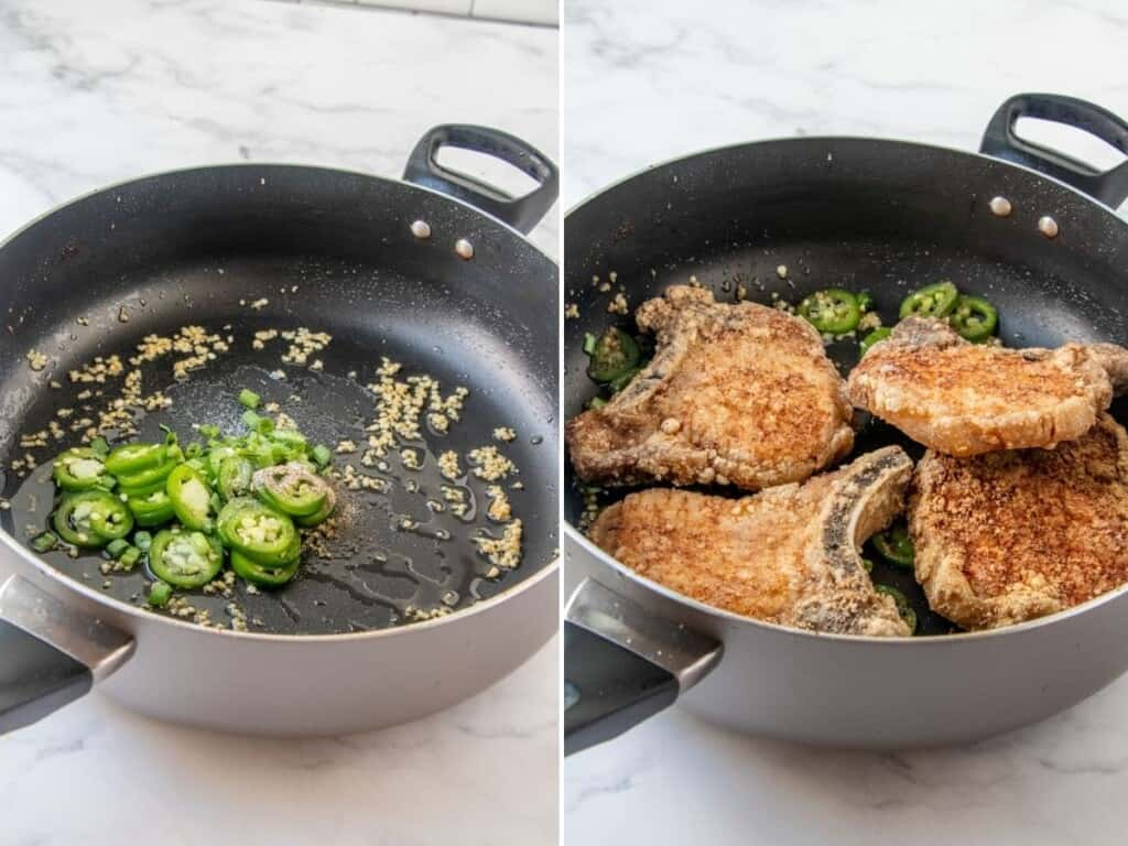 stir-frying fried pork chops in salt and peppers