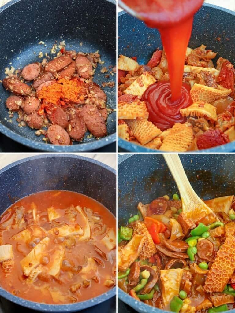 cooking callos in a pot