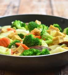 Chop Suey with Tofu and Shiitake Mushrooms is a stir-fry dish made with tender-crisp broccoli, carrots, cabbage, tofu, and mushrooms. It's a healthy, delicious and vegan you'll feel good serving the whole family.