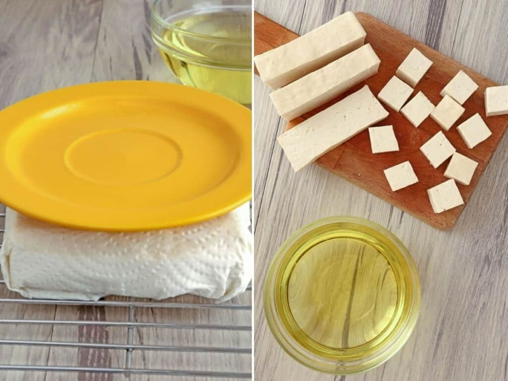 pressing tofu block with a plate and cutting into cubes