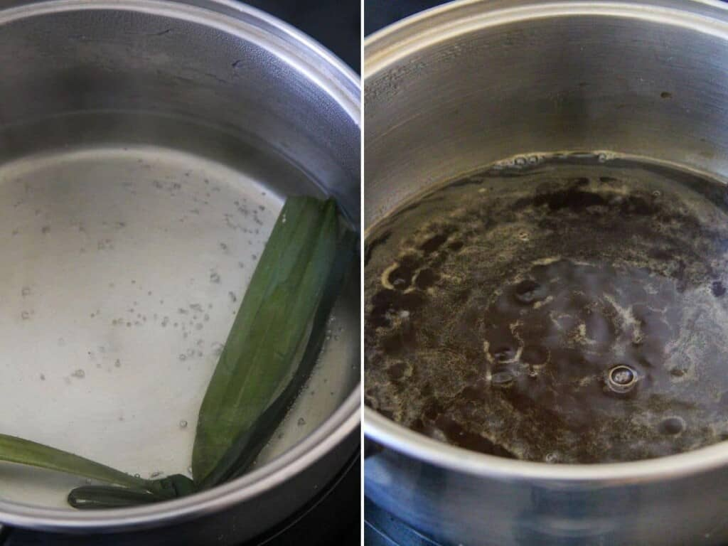 making arnibal syrup flavored with pandan leaves
