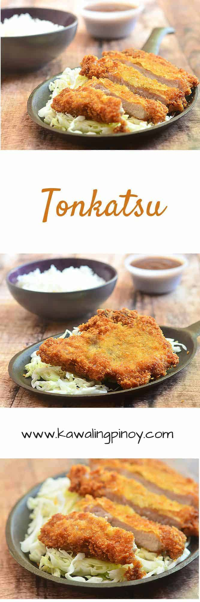 Tonkatsu is a type of Japanese dish where in cutlets are breaded in Panko bread crumbs and then deep-fried until golden and crisp; often served with shredded cabbage and tonkatsu sauce