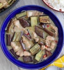 Ginataang Talong in a blue serving bowl