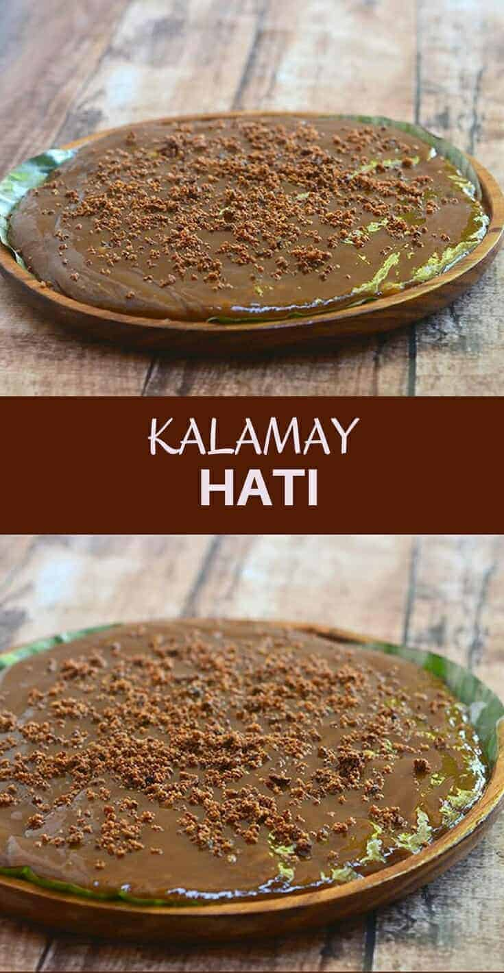 Kalamay Hati made with glutinous rice flour, coconut milk and muscovado sugar. Perfectly sweet and sticky, this rice cake is great as snack or dessert!