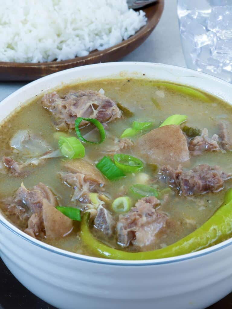Ilocano Up and Down Soup in a white bowl