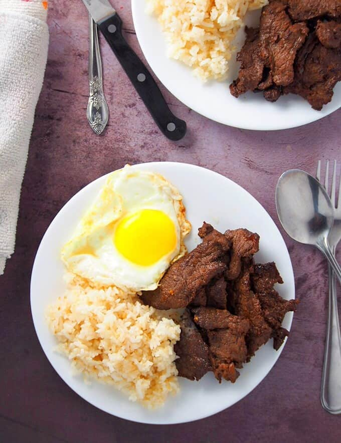 top view of tapsilog plate