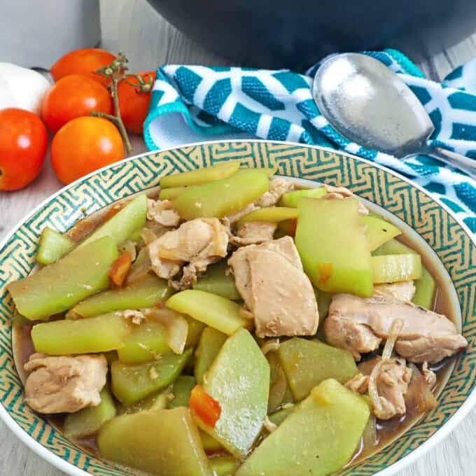 chayote stew with chicken in a serving bowl