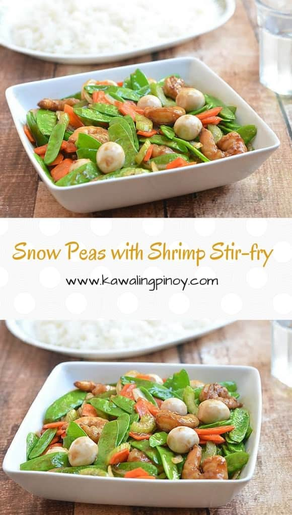 Snow Peas with Shrimp Stir-fry is a quick and easy vegetable dish made with snow peas, carrots, celery, shrimps and oyster sauce