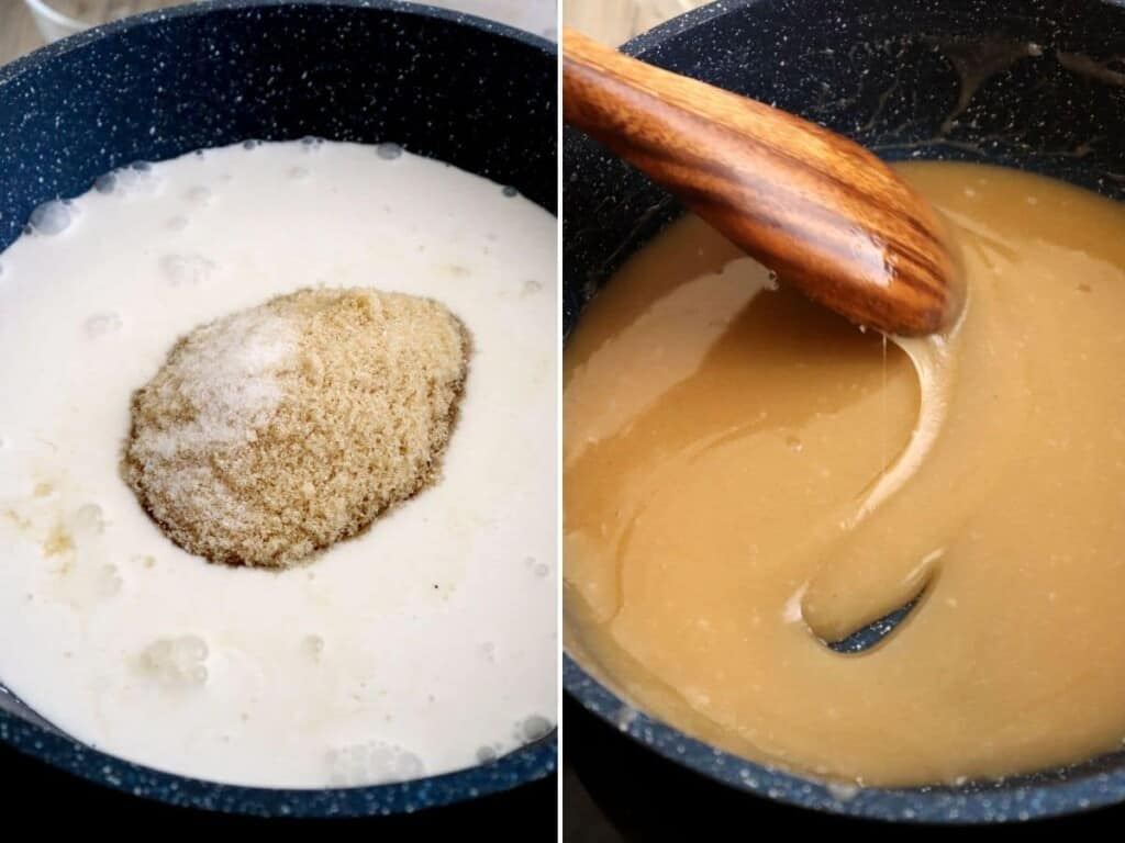 making salted coconut caramel sauce in a skillet