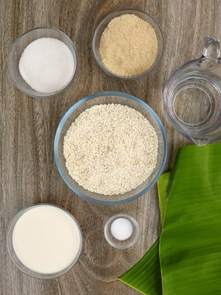 glutinous rice flour, brown sugar, granulated sugar, salt, water