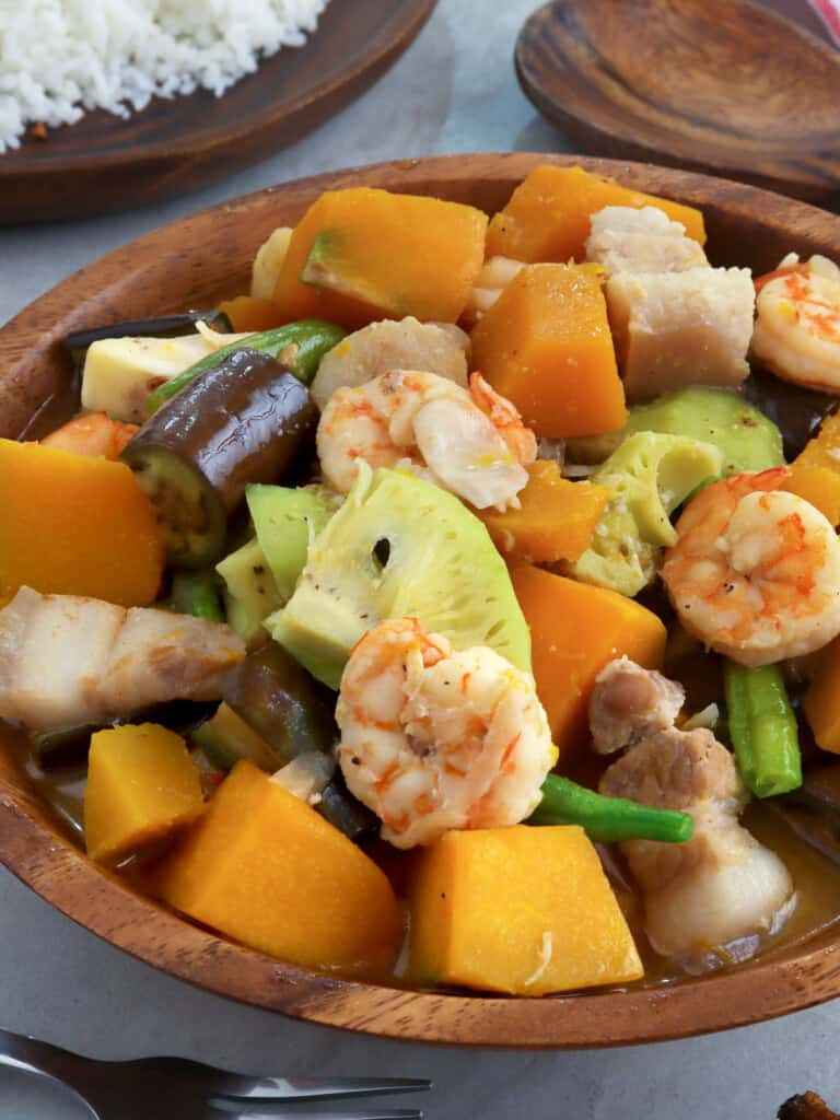 vegetables in coconut milk in a serving bowl