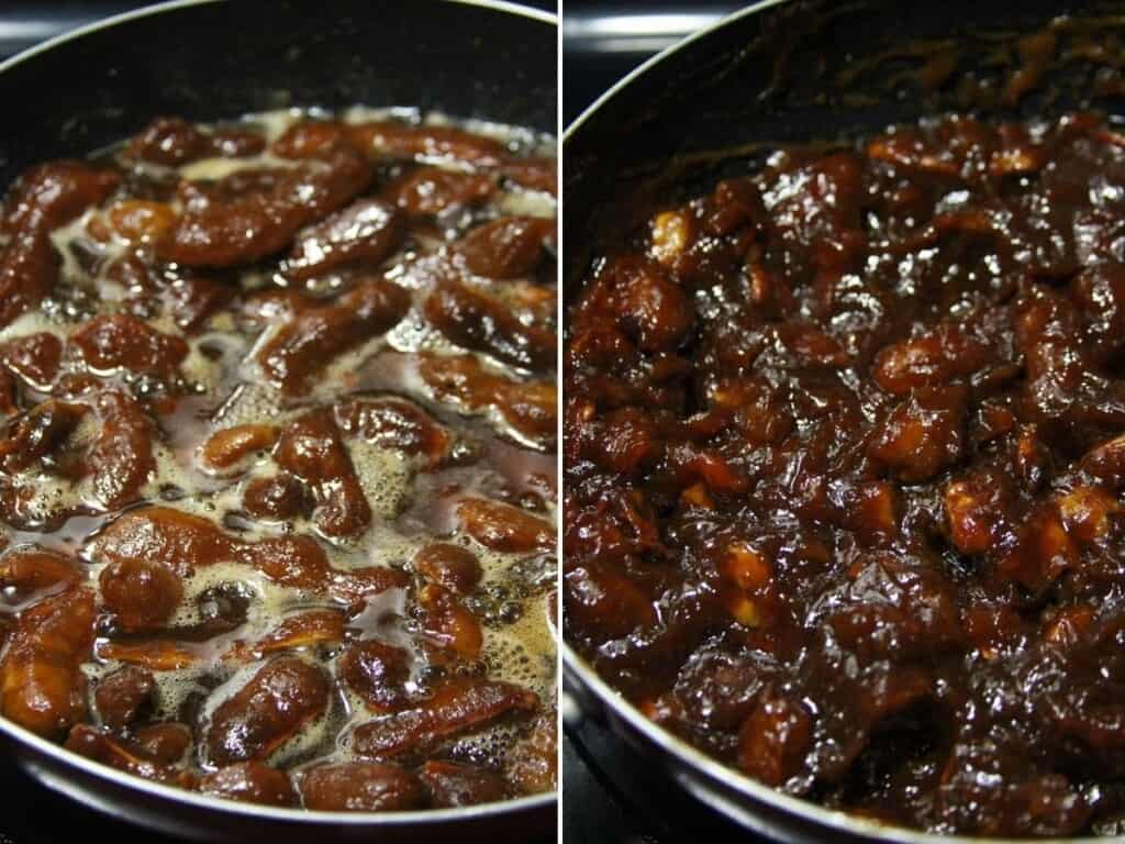 cooking tamarind candy in a pan