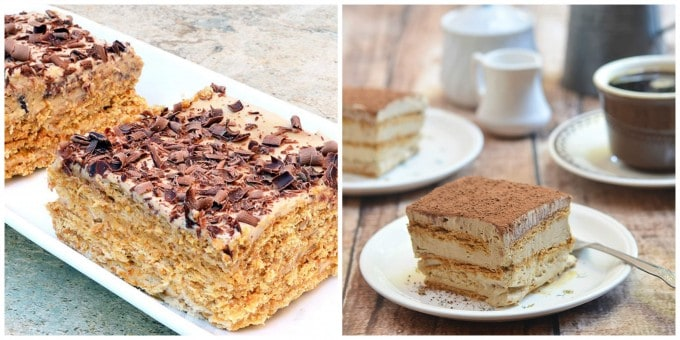 Tiramisu and espresso icebox cakes