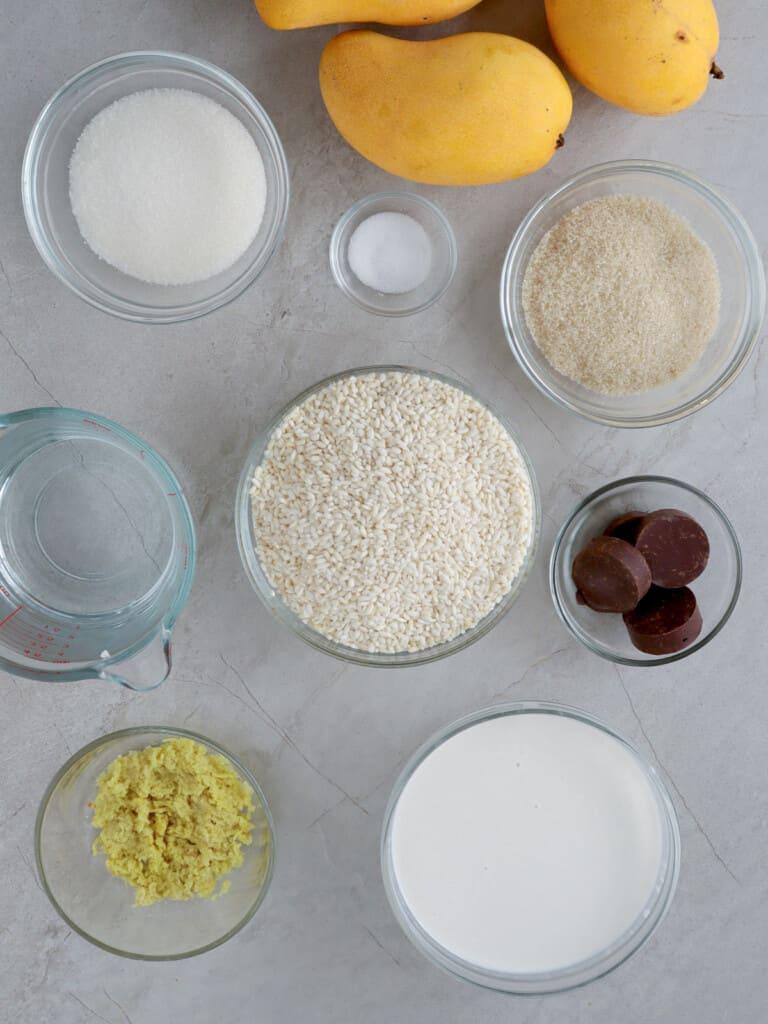glutinous rice, grated ginger, sugar, coconut milk, tablea, water, mangoes