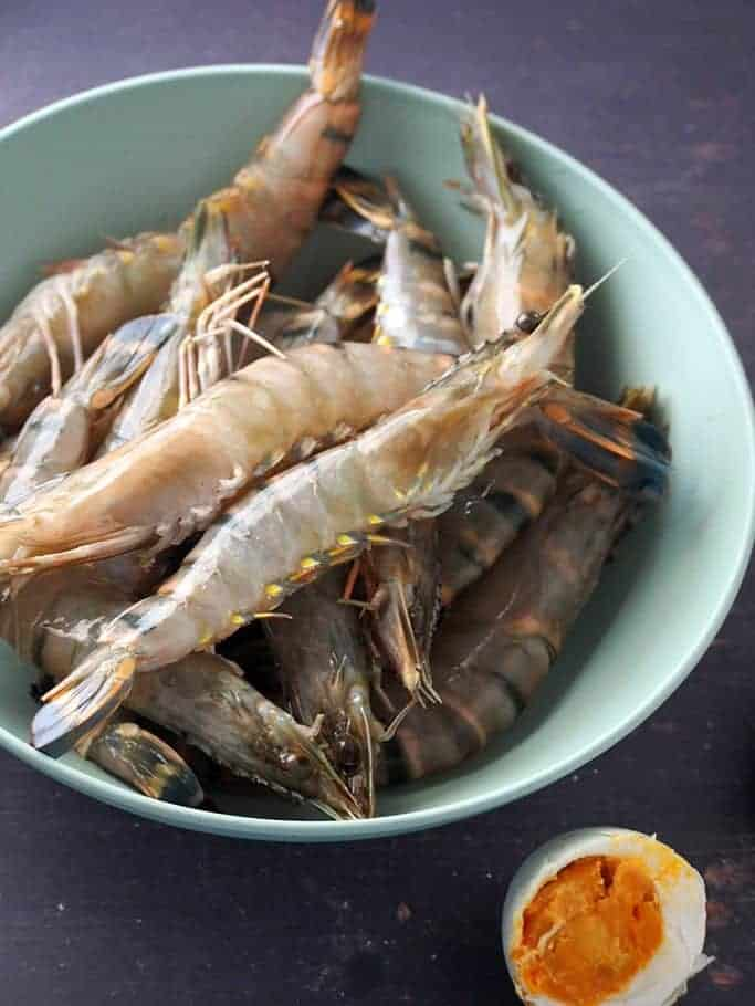 shrimp in a bowl and salted eggs
