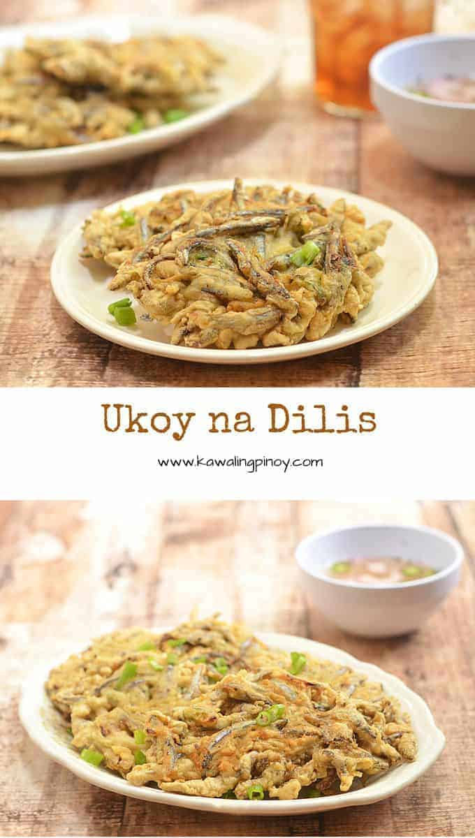 Ukoy na Dilis is a delicious fish fritter made with fresh anchovies. Crunchy and flavorful, they're wonderful as a midday snack or dinner meal.