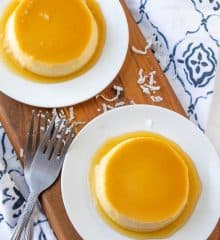 top view of coconut custard with caramel topping on a white plate