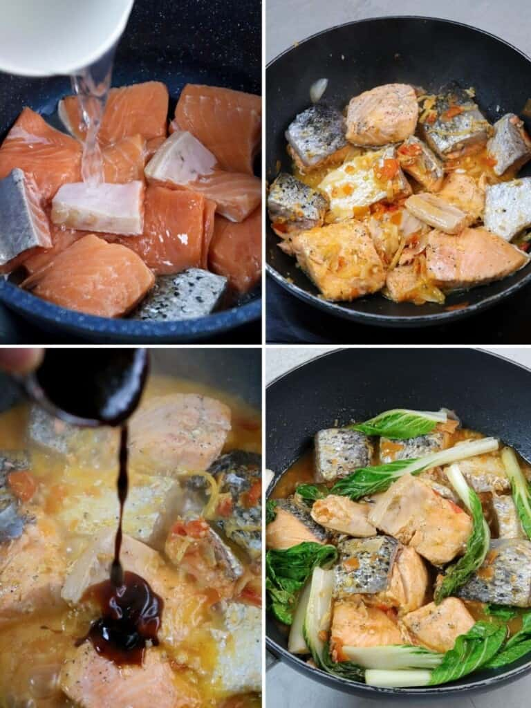 cooking kinamatisan salmon with oyster sauce in a skillet