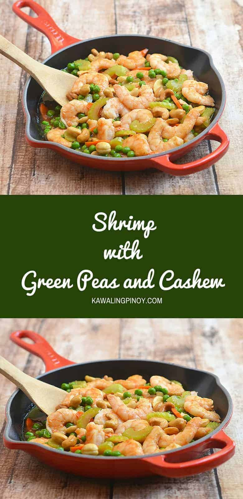 This shrimp with green peas and cashew is so easy and quick to make, it will be on your dinner table in less than 30 minutes. And it comes with the most incredible stir fry sauce that's perfect to spoon over rice or noodles.