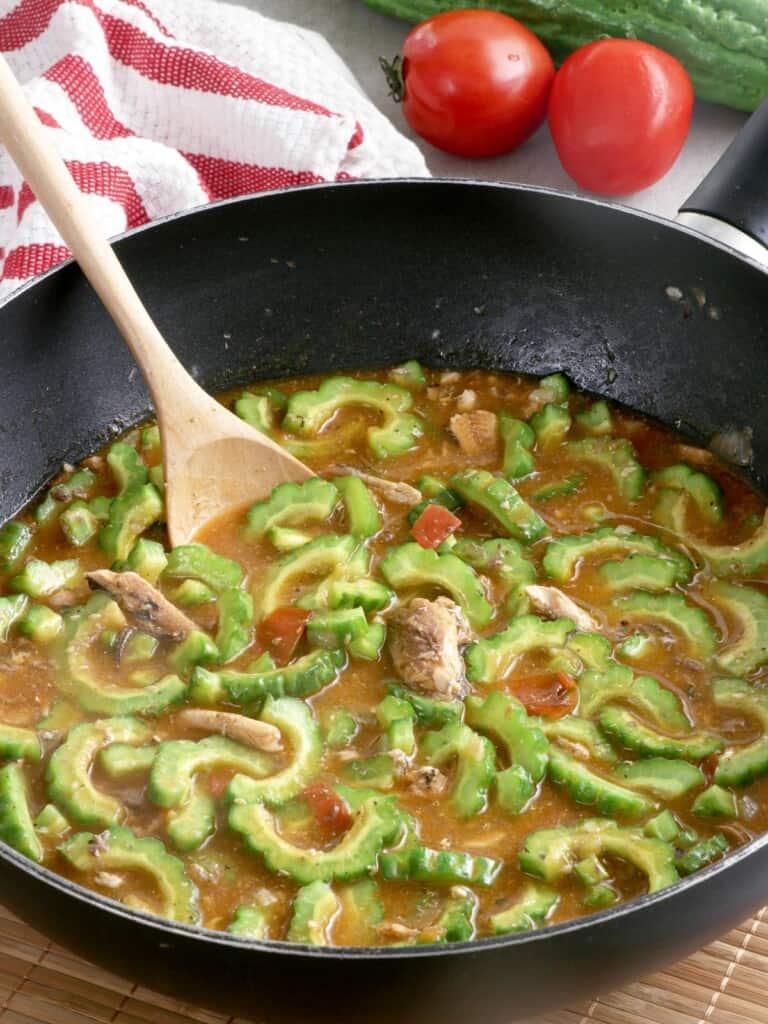 Ginisang Ampalaya sa Sardinas in a pan