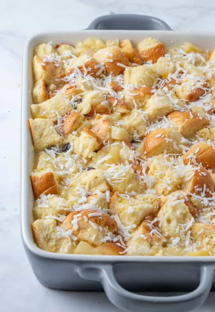 bread pudding mixture in a baking pan
