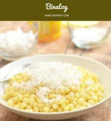 Binatog is a Philippine popular street food made of boiled white corn and topped with grated coconut, margarine, and salt.