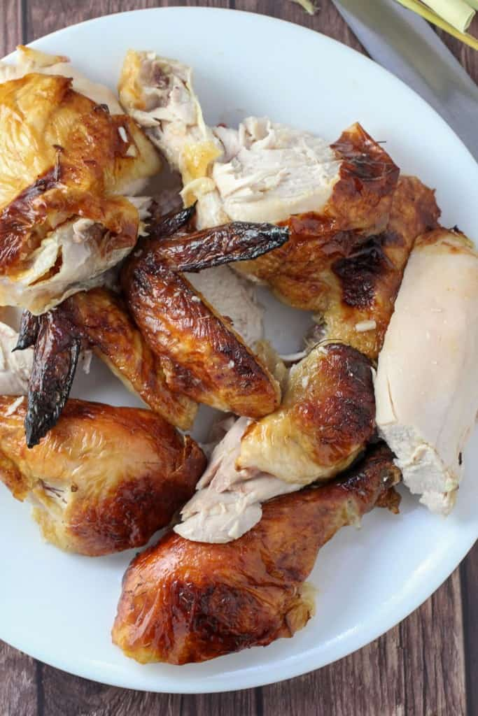 chopped roasted chicken on a white serving platter