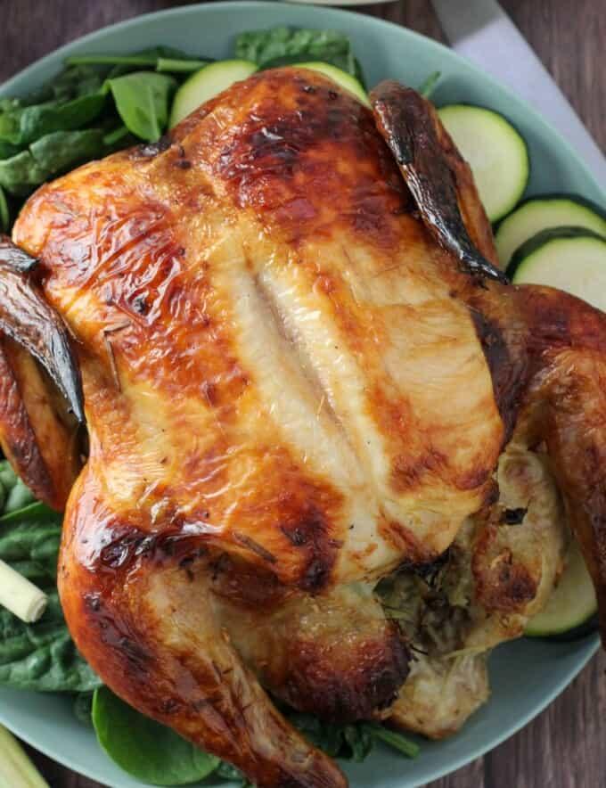 Lemongrass Roasted Chicken on a serving platter
