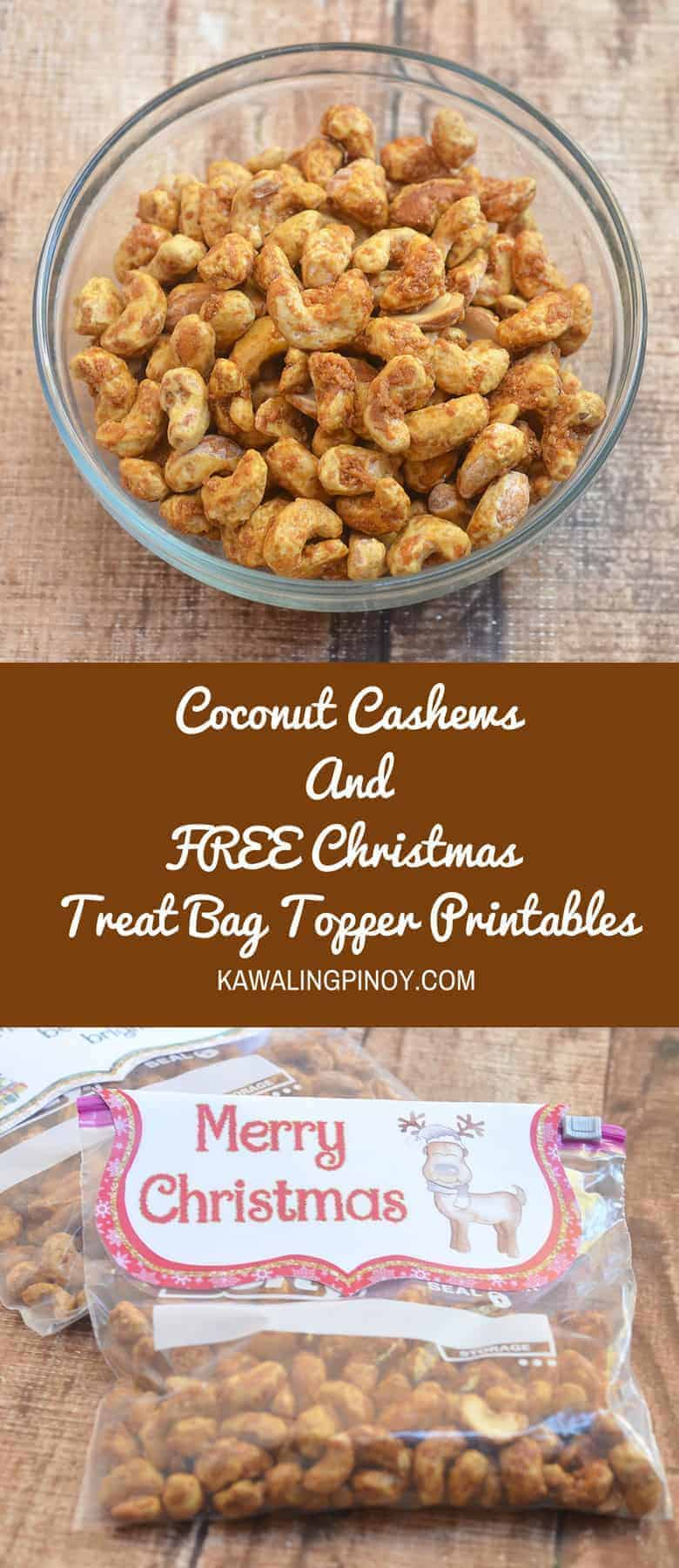 Coconut Cashews Plus FREE Christmas Treat Bag Toppers Printables