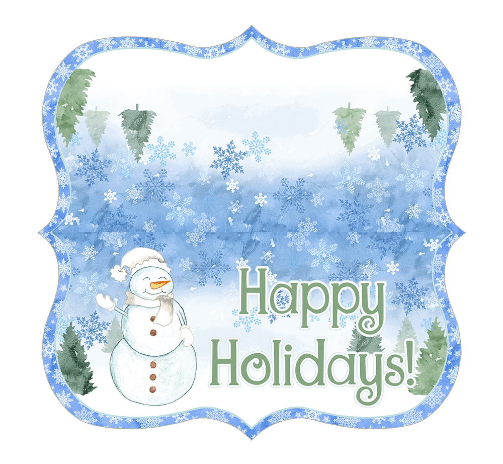 This blue winter printable with a snowman is fun for holiday cheer.