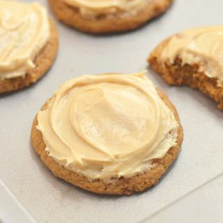 Pumpkin Spice Cookies with Caramel Cream Cheese Frosting