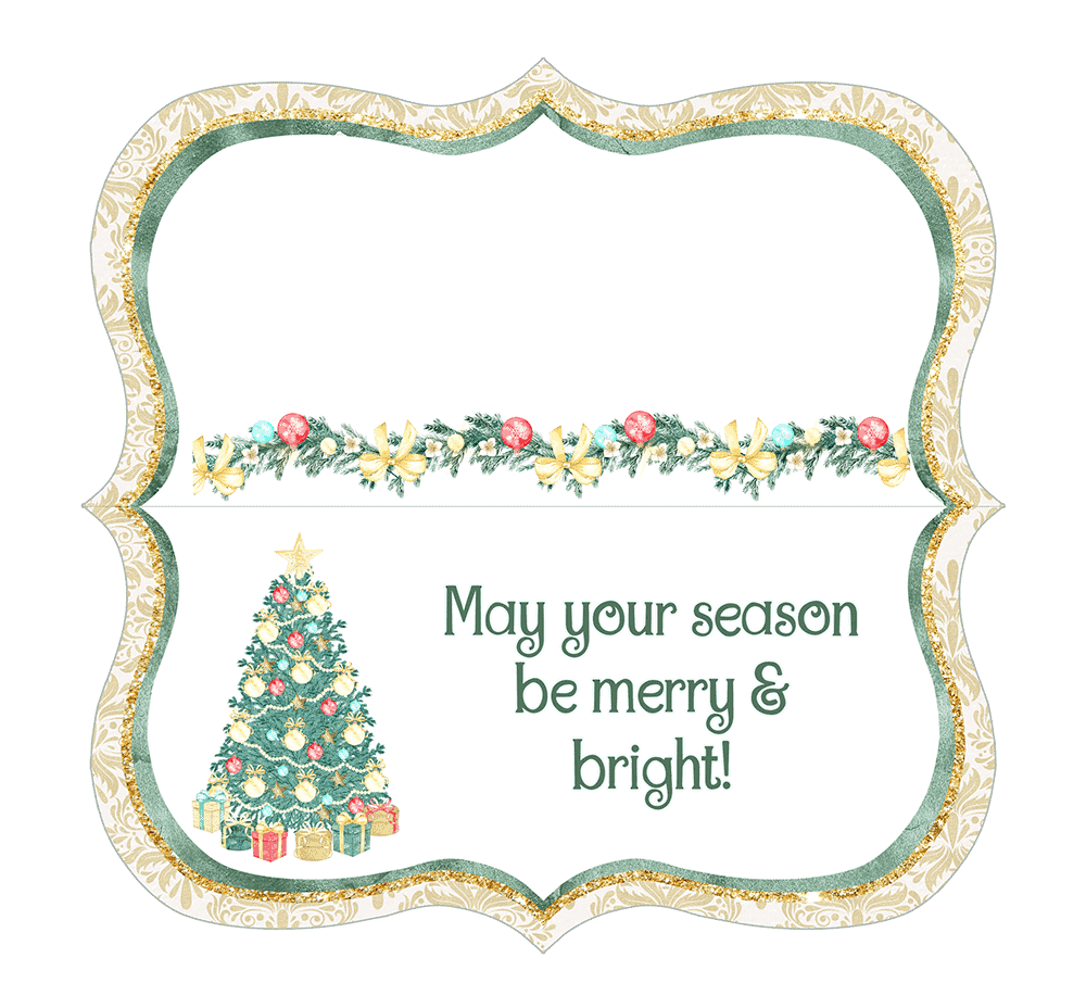This seasonal Christmas printable with tree lights and presents is festive.